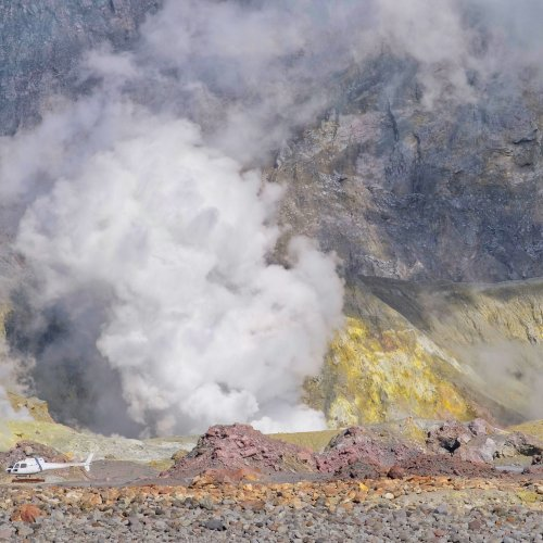 Acidic fumes from the main crater
